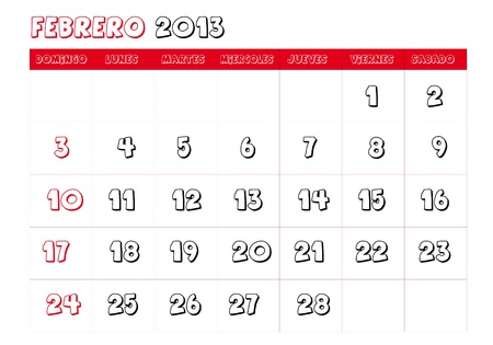 February 2013 Calendar in spanish Vector