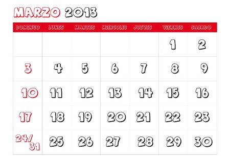 March 2013 Calendar in spanish Vector