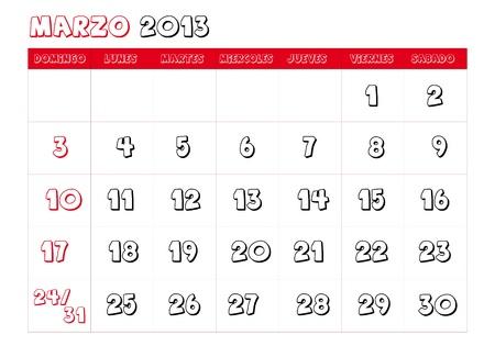 March 2013 Calendar in spanish Stock Vector - 14323773