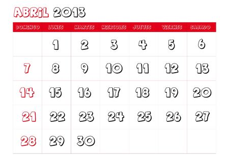 April 2013 Calendar in spanish Vector