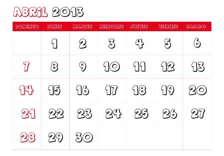 April 2013 Calendar in spanish Vector