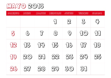 May 2013 Calendar in spanish Vector