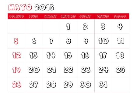 May 2013 Calendar in spanish Vector