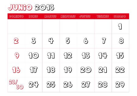 June 2013 Calendar in spanish Vector