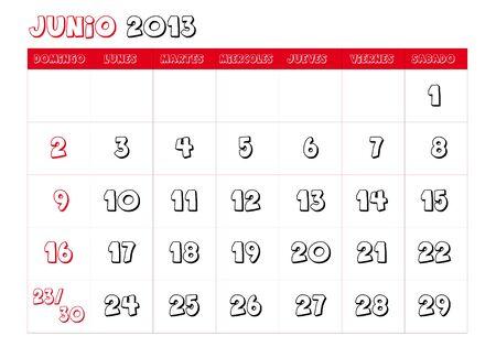June 2013 Calendar in spanish Vector