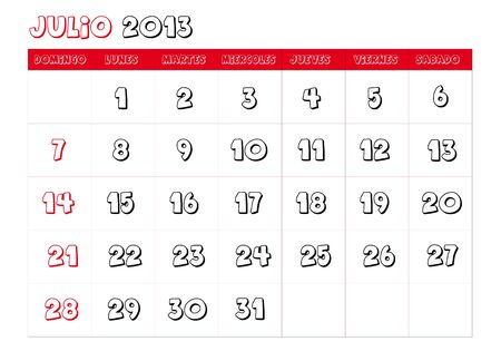 July 2013 Calendar in spanish Vector
