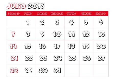 July 2013 Calendar in spanish Vector