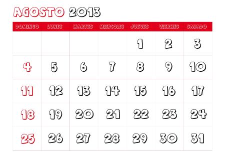 August 2013 Calendar in spanish Stock Vector - 14323772