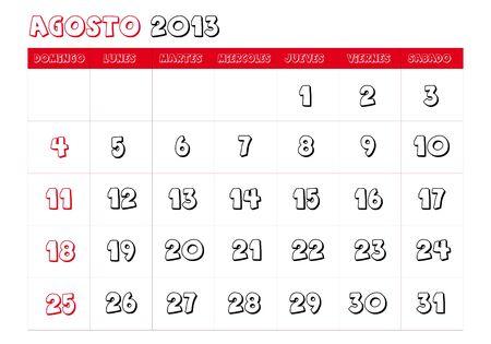 August 2013 Calendar in spanish Vector
