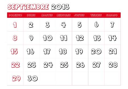 September 2013 Calendar in spanish Stock Vector - 14323775