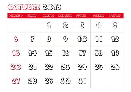 October 2013 Calendar in spanish Vector