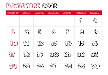 November 2013 Calendar in spanish Stock Vector - 14323780