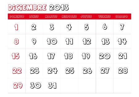 December 2013 Calendar in spanish Stock Vector - 14323777