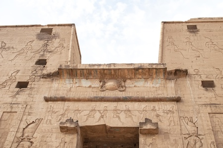 Detail of the facade of the famous temple of Edfu in Egypt photo