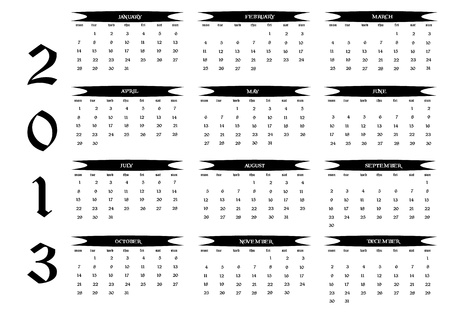 2013 new calendar in english Stock Vector - 14677291