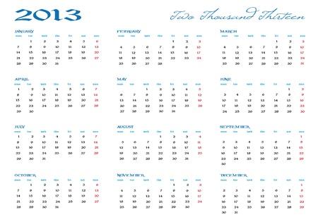2013 new calendar in english Vector