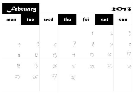 February 2013 Calendar in english Stock Vector - 14677274