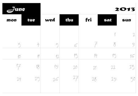 June 2013 Calendar in english Stock Vector - 14677276
