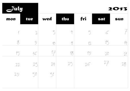 July 2013 Calendar in english Stock Vector - 14677280