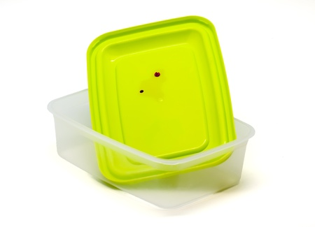 Plastic containers for food  on white background photo