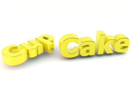 Word cupcake in yellow on white background photo