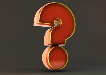 3d question mark on black background photo