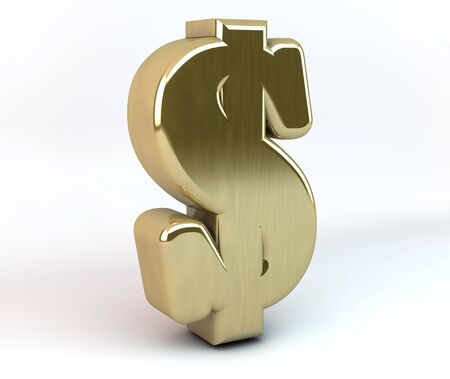 3d dollar symbol in gold and white background Stock Photo - 15083956