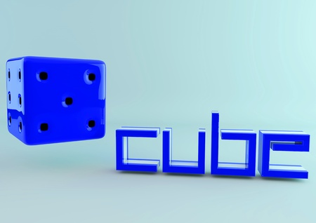 A blue die  with the word cube in 3d photo