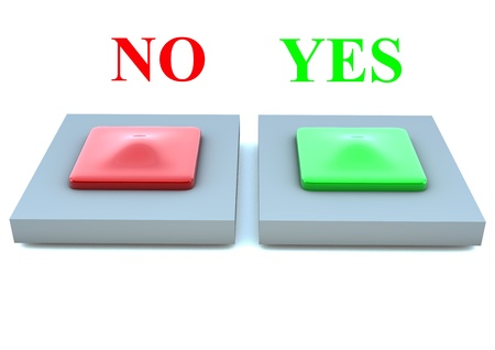 Two 3d buttons to choose yes or not photo