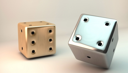 Two 3D dice in gold and silver photo