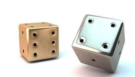 Two 3D dice in gold and silver on white background photo
