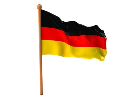 german culture: German flag waving on white background  3D image Stock Photo
