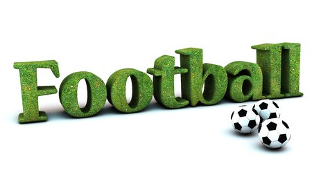 3D football with grass texture  and three soccer balls photo
