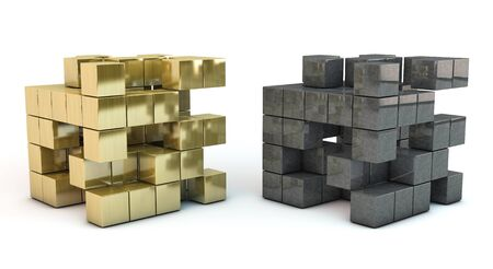 Cubing 3d golden   and metal isolated on white background Stock Photo - 15407921