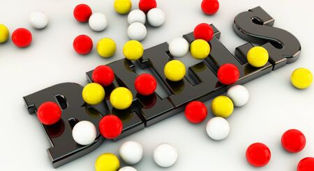 Word balls in 3d with many colorful balls Stock Photo - 15407928