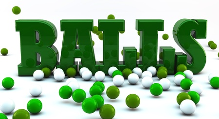 Word balls in 3d with many green and white balls photo