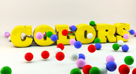 Word colors in 3d  with many colorful balls photo