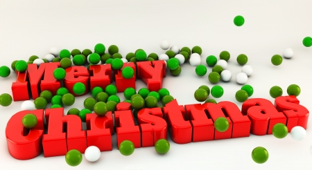 text 3d: 3d Merry Christmas with many glossy balls on white background