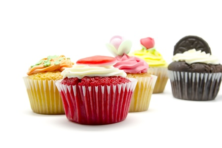 A colorful cupcakes on white background Stock Photo - 15480860