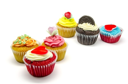 A colorful cupcakes on white background Stock Photo - 15480863