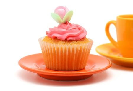 Orange Cupcake on a plate photo