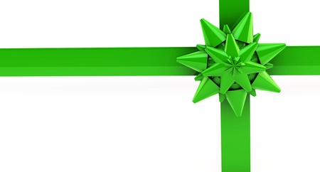 Bright green gift ribbon on a white background photo