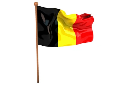 Belgium flag waving on white background. 3D image photo