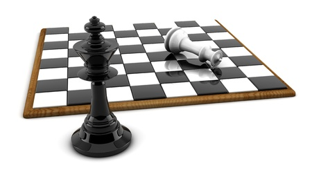 chess knight: Chess board and pieces in 3d on white background