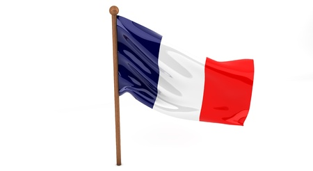 french culture:  French  flag waving on white background. 3D image