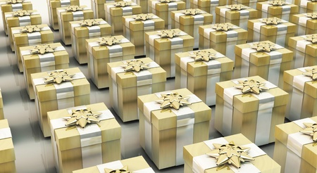 3d Fund gift boxes full of gold color Stock Photo - 15606136