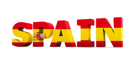 Word spain with flag in 3d photo