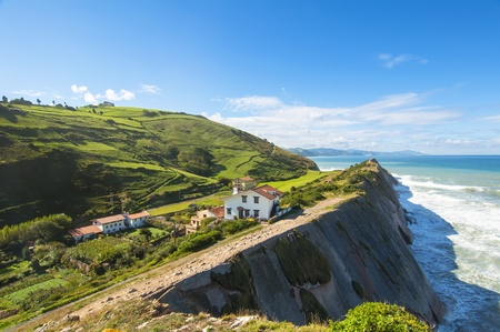 View of the cliffs in Zumaia in Vizcaya, Spain
