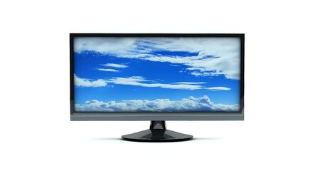 Monitor tv with an image of heaven on the screen photo