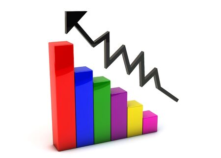 3d colored graph with an upward arrow on white background Stock Photo - 16537168